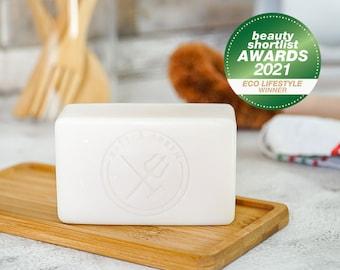 Organic Natural Vegan Dish Soap Bar (Lemon & Eucalyptus) Vegan Friendly Solid Dish Soap, Plastic Free and Eco Friendly Soap, Zero Waste Soap