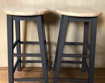 2 X Hand Painted Wooden Bar Stools Navy Etsy