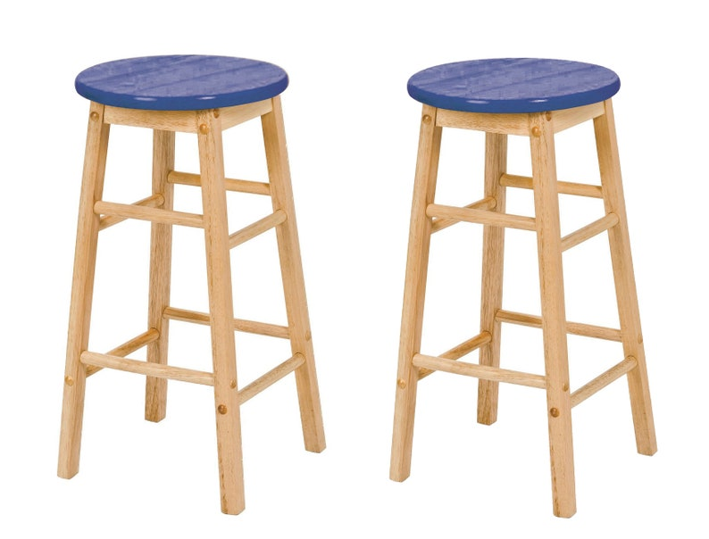Wondrous 2 X Hand Painted Top Wooden Bar Stools Navy Bralicious Painted Fabric Chair Ideas Braliciousco