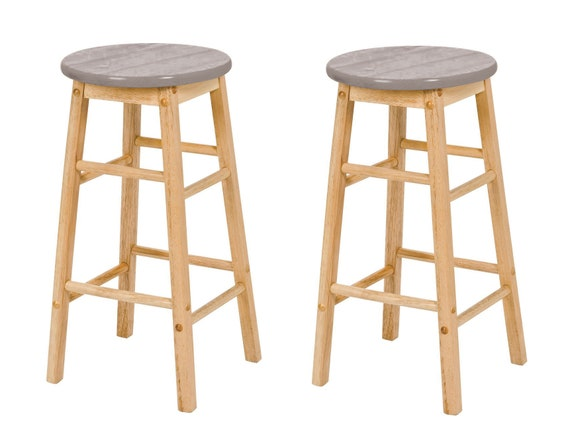 Miraculous 2 X Hand Painted Top Wooden Bar Stools Light Grey Uwap Interior Chair Design Uwaporg