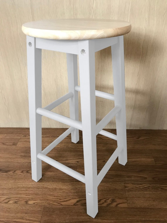 Superb Hand Painted Wooden Bar Stool White Bralicious Painted Fabric Chair Ideas Braliciousco