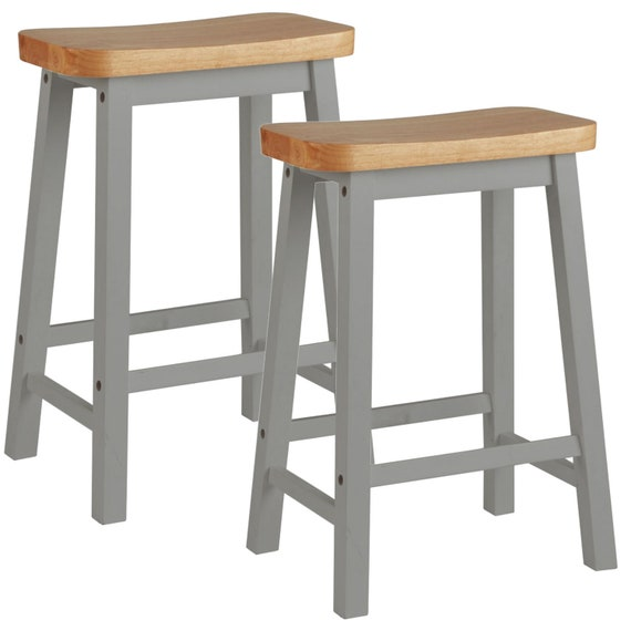 Outstanding Pair Of Hand Painted Curved Seat Wooden Bar Stools Grey Bralicious Painted Fabric Chair Ideas Braliciousco