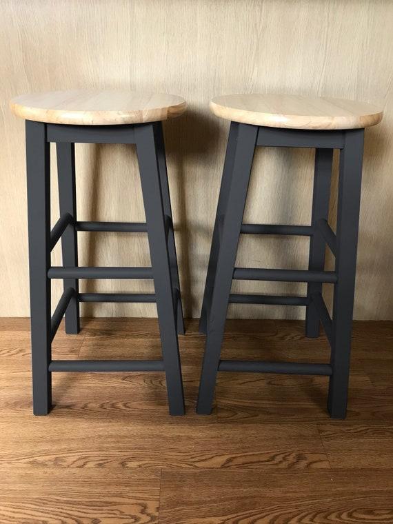 Astonishing 2 X Hand Painted Wooden Bar Stools Black Bralicious Painted Fabric Chair Ideas Braliciousco
