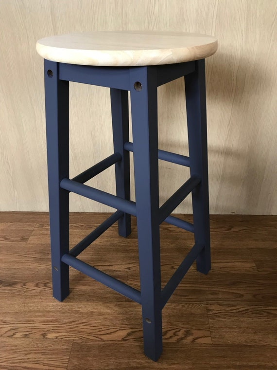 Terrific Hand Painted Wooden Bar Stool Navy Bralicious Painted Fabric Chair Ideas Braliciousco