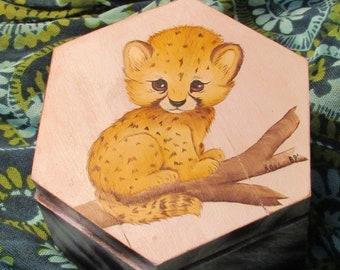 fde857ca18d81 Baby Cheetah Wooden Gift Box Christmas Holiday Trinket Box Stash Box