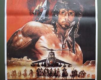 Rambo Iii 1988 Original One Sheet Movie Poster 27x41 Etsy