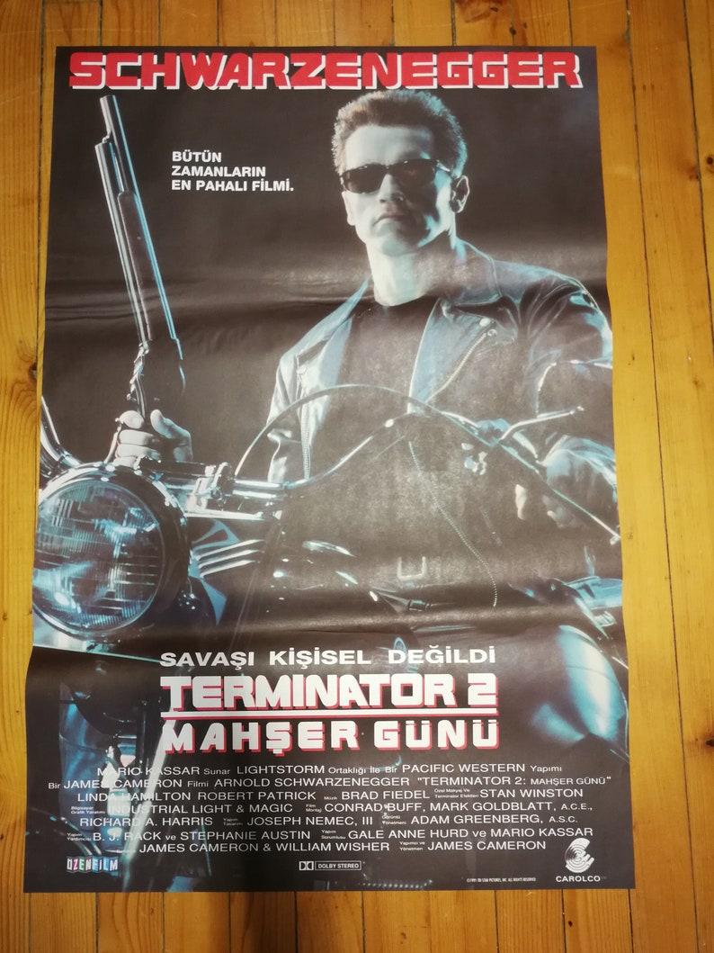 1991 Turkish Arnold Schwarzenegger Terminator 2 Orjinal One Sheet Movie Poster