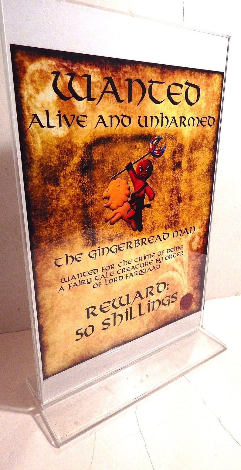 Shrek Gingerbread Man Wanted Poster Seen In Movie Etsy