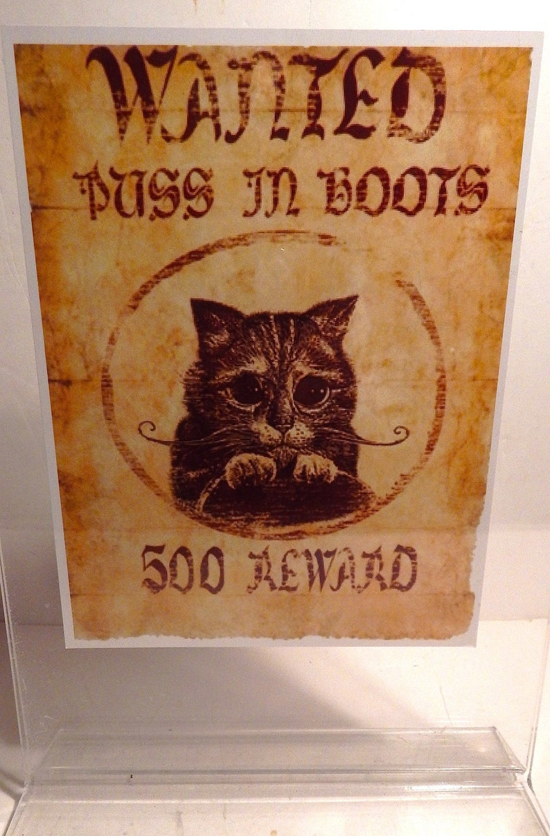 Puss In Boots Wanted Poster Custom Made Shrek Etsy