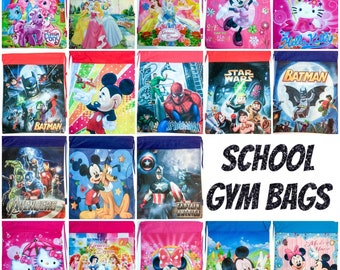 180475561c19 New kids character drawstring bag gym school PE sports party backpack boys girls  swimming after school