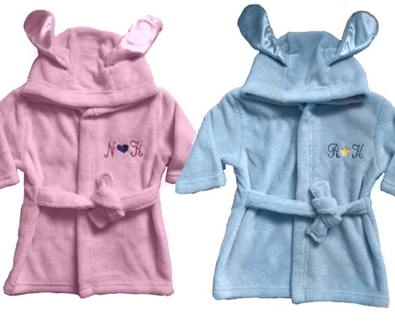 0af55cb704de Personalised embroidered baby hooded wrap dressing gown bath