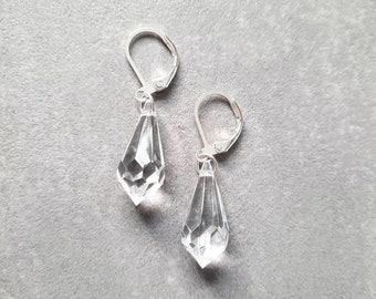 Sun catcher clear crystal glass prism earrings