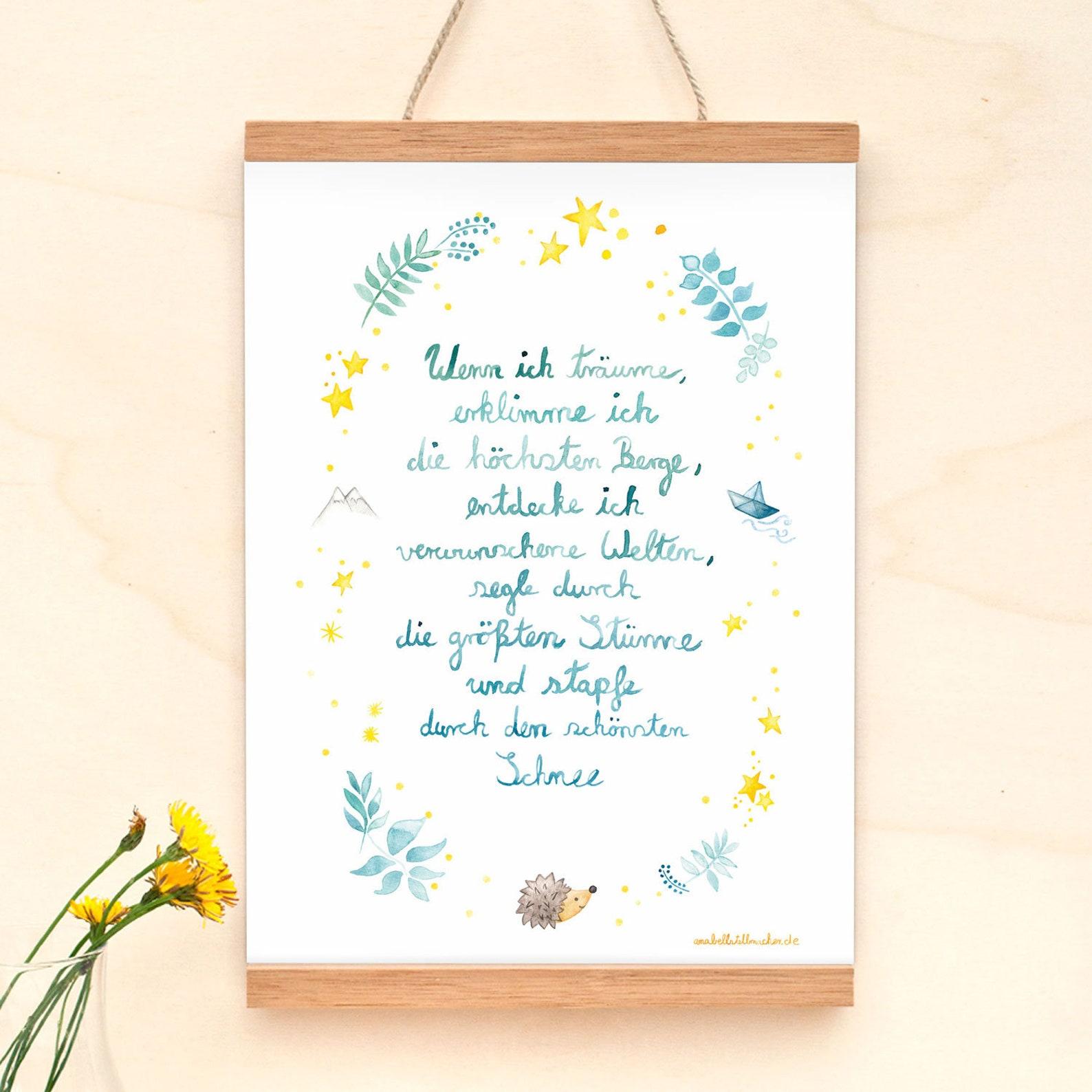 Sprüche Poster A4 Gedicht zum Einschlafen und Träumen   Etsy