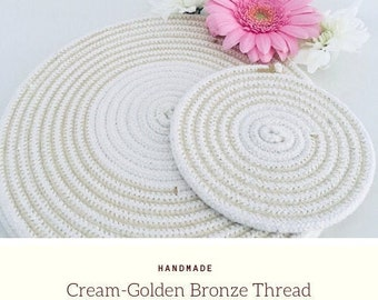 Table Cotton Rope 4 Placemats Set of 8 Handmade Round Dining Tableware 4 Cotton Coasters Water Shield Protection 10 Inch /& 12 Width Size