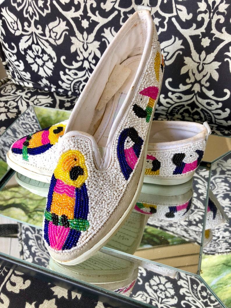 Sneakers Beaded Parrots Vintage
