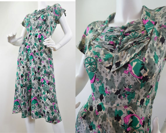 Dress 30's 40's Rare Novelty Print Rayon Silk XS S
