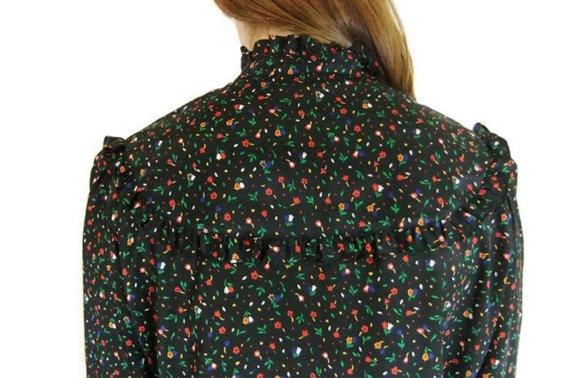 Vintage 70/'s 80/'s Blouse Floral Ruffle Button Down Size XSS