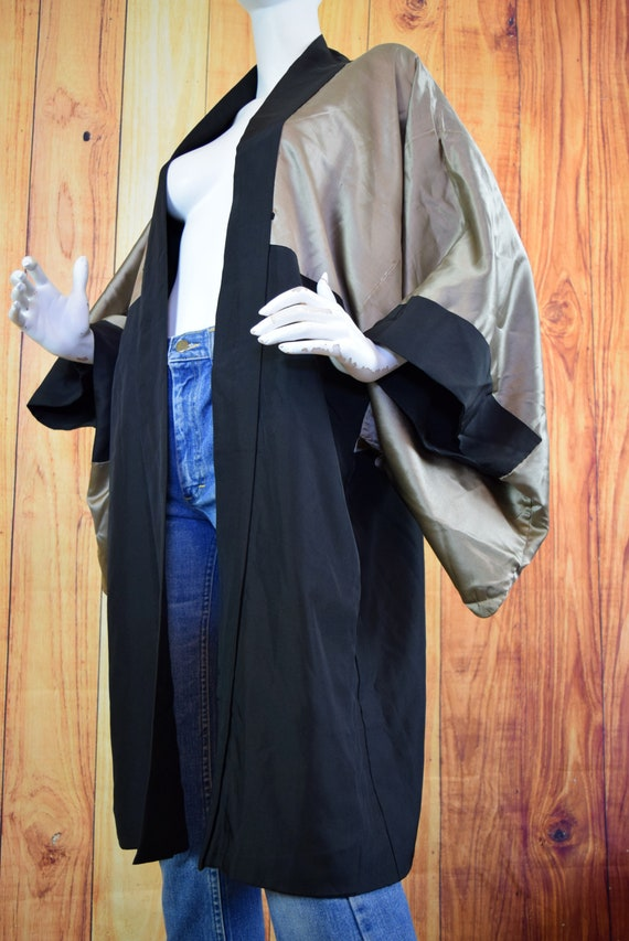 Vintage 40's Duster Robe Reversible Tiger Black T… - image 5