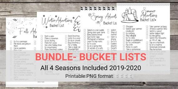 Bucket List 2020.Bundle 2019 2020 Printable Seasonal Bucket Lists Spring Summer Fall Winter Checklists Bullet Journal Printable