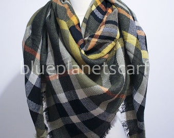 fddf8c1c0d376 Olive Green Plaid Blanket Scarf, Blanket Scarf, Tartan Plaid Scarf, Tartan  Scarf, Gift For Her, Oversized Blanket Scarf, Christmas Gifts