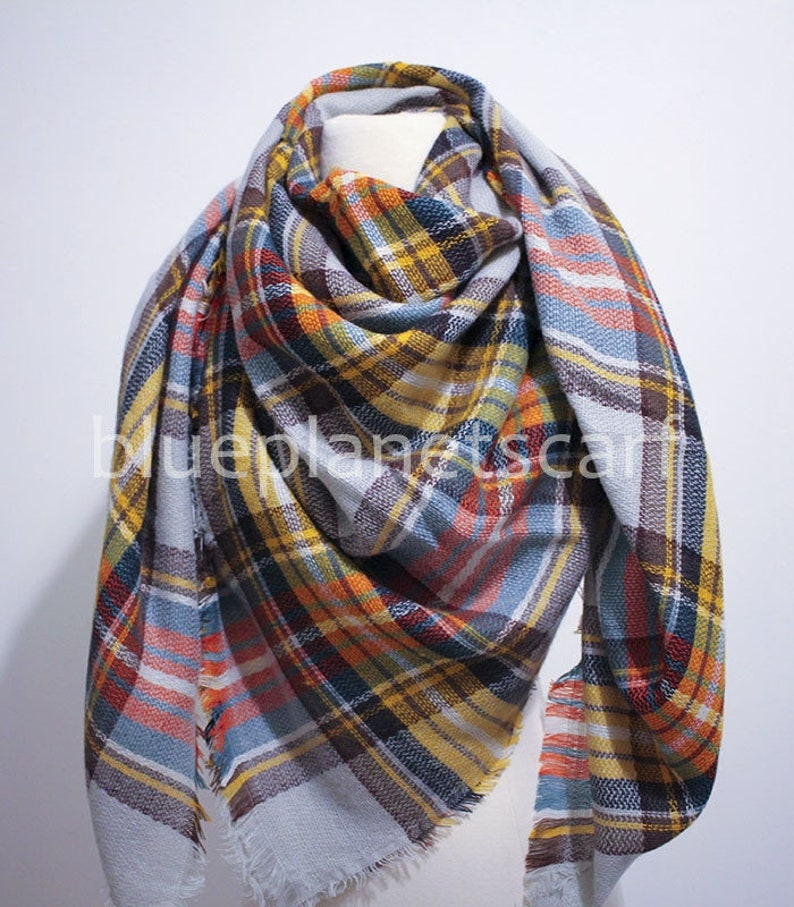 Yellow Gray Plaid Blanket Scarf, Blanket Scarf, Tartan Plaid Scarf, Tartan  Scarf, Gift For Her, Oversized Blanket Scarf, Christmas Gifts