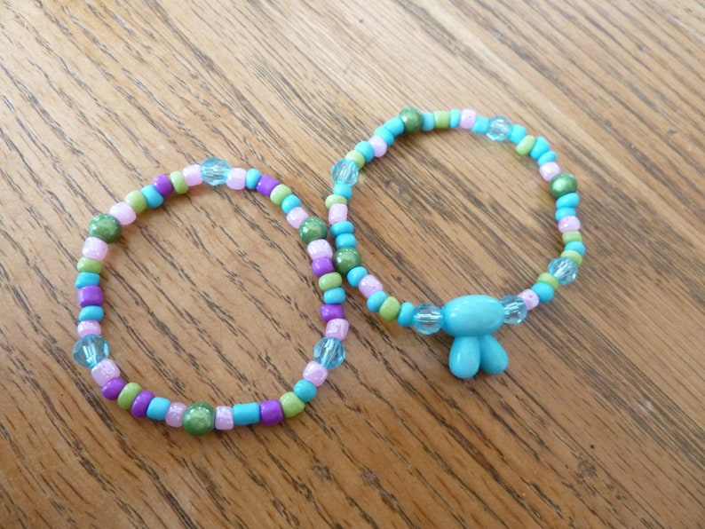 Stretch Birthday Gift Turquoise Bead with Ears Plus Companion Bracelet Set of 2- Bunny Ears Bracelet Set Child Size 3 Years