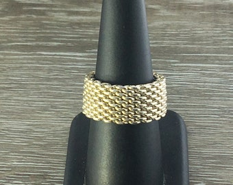 895767383 Authentic Tiffany & Co Sterling Silver Mesh Somerset Ring