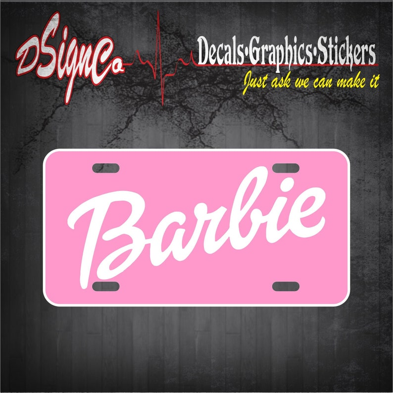 Barbie License Plate Pink/White