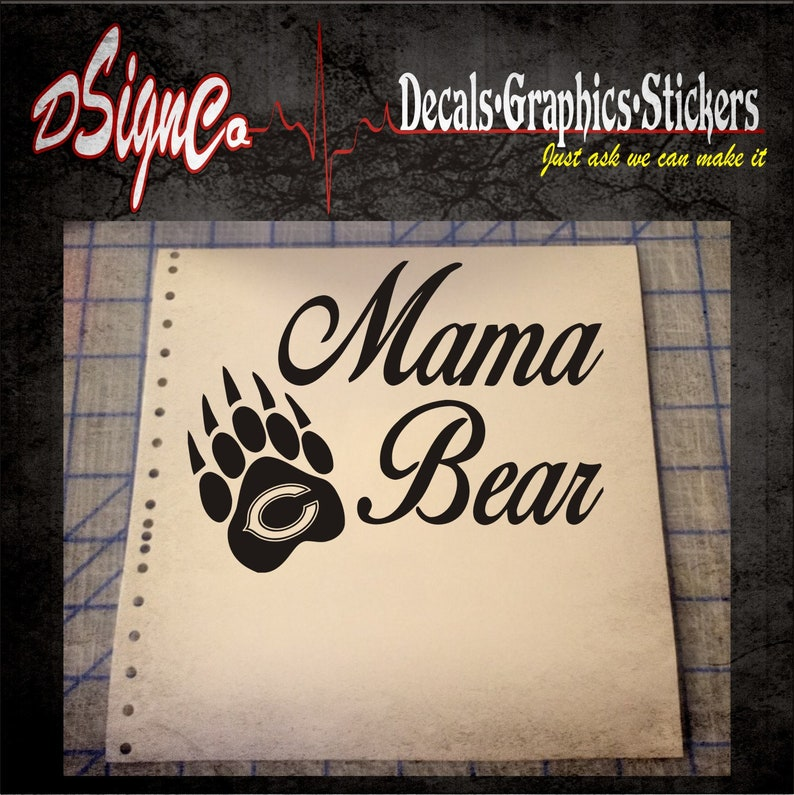 Chicago Bears Mama Bear Vinyl Decal Sticker image 0