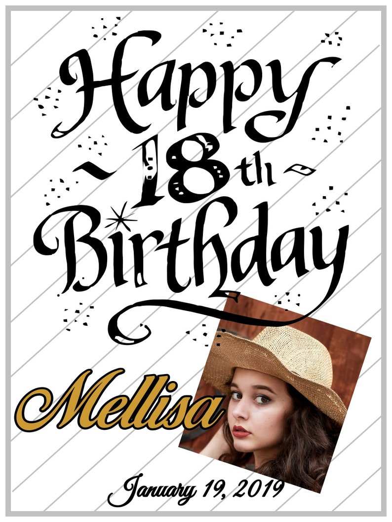 Birthday Sign-Personalized Names and Dates Happy Birthday image 0