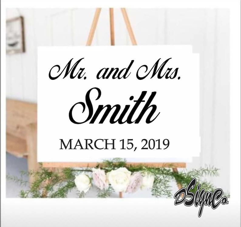Wedding Vinyl Decal-Personalized Names and Dates-Mirror image 0