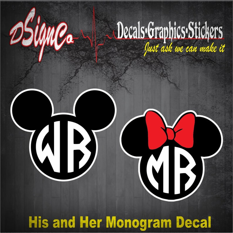 Mickey and Minnie Monogram Vinyl Decal Sticker image 0