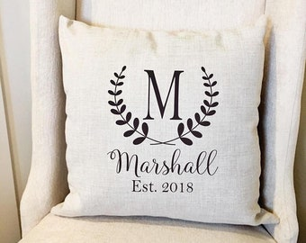 Monogram Pillow Cover - Personalized Name Throw Pillow Cover - Farmhouse  Decor - Farmhouse Pillow Covers - Rustic Pillow - Rustic Decor a143106900ec