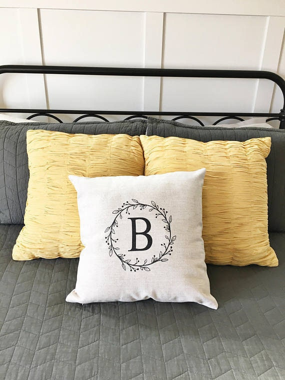 Initial Pillow Cover Personalized Letter Pillow Cover Etsy Adorable Initial Pillow Covers