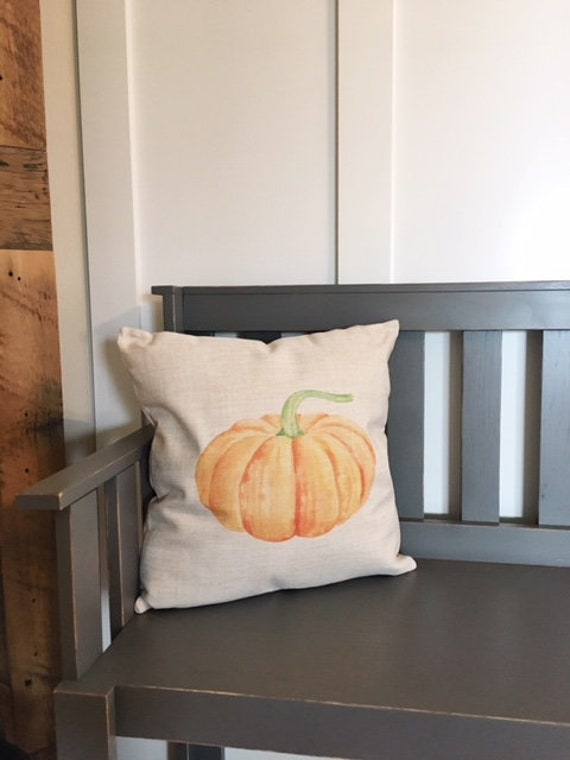 Watercolor fall pumpkin pillow cover