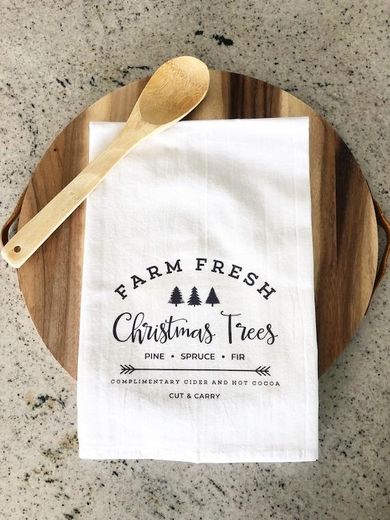 Christmas Gift Idea Kitchen Linen Christmas Tree Farm Tea Towel Hostess Gift Christmas Decorations Christmas Tea Towel