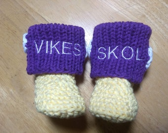 fcd5cf938 Minnesota Vikings Baby Booties (sizes 0-3 months, 3-6 months, and 6-9  months)
