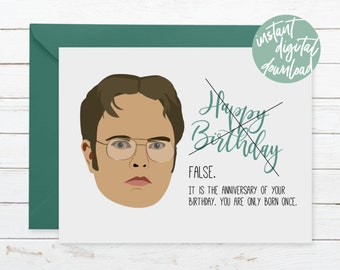 FALSE Dwight Shrute Printable Birthday Card The Office Dunder Mifflin Print Funny For Friend Michael Scott