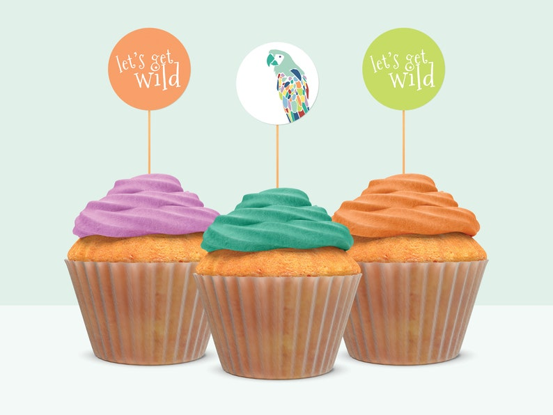 Zoo Animal Party Cupcake Toppers and Favor Tags Wild Animal Party Favors Zoo Theme Birthday Party for Boy or Girl
