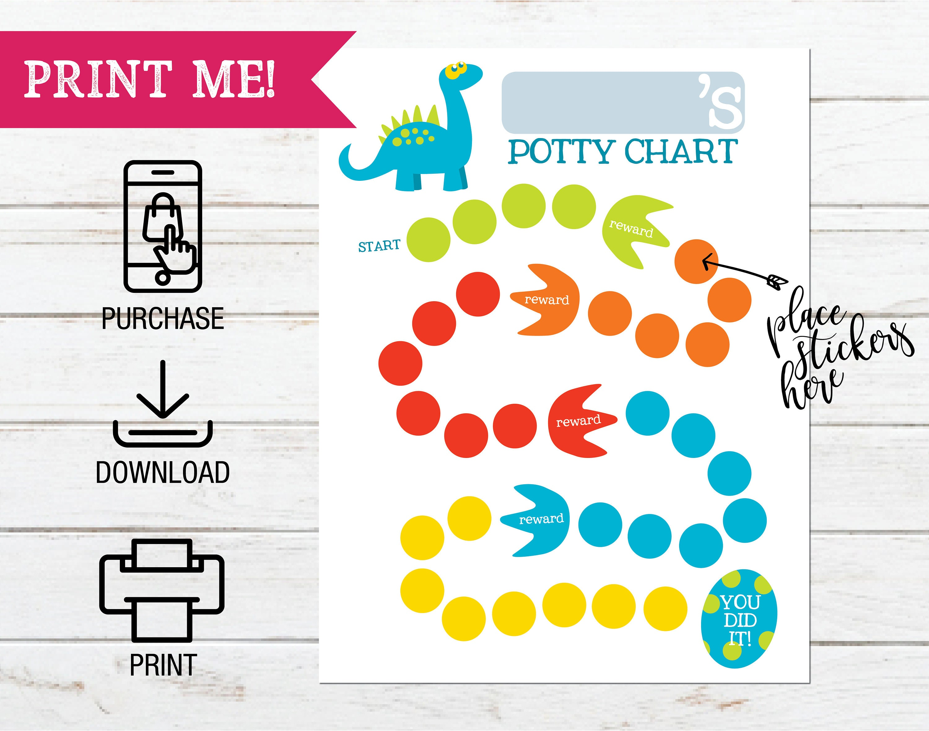 photo relating to Printable Sticker Chart named Printable Dinosaur Topic Potty Doing exercises Chart, Printable Sticker Chart, Gain Chart for Preschooler, Potty Working out Sticker