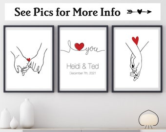 I Love You Print Set of Three, Choose Your Colors, Love Print, Couples Gift, Personalized Name Print, Couples Wall Art, Wedding Gift