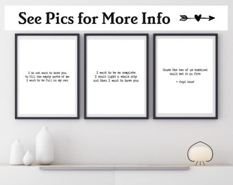 Poem Print Set of Three, Choose Your Poem and Colors, Poem Wall Art, Poem Canvas, Typography Print, Poetry Print, Living Room Wall Art