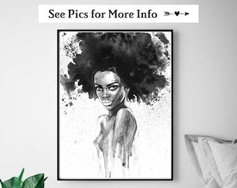 Beautiful Black Woman Wall Art, African Black Woman Print, Bedroom Wall Art, Afro Woman Wall Art, Living Room Print, Black Woman Art