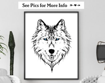 Wolf Face Print, Choose Your Colors, Wolf Wall Art, Man Cave Wall Art, Animal Print, Animal Face Prints, Black and White Print