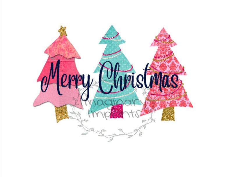 Merry Christmas With Pink Tree Png Sublimation Design Digital Design Sublimation Dtg Printing Clipart Christmas Sublimation Png