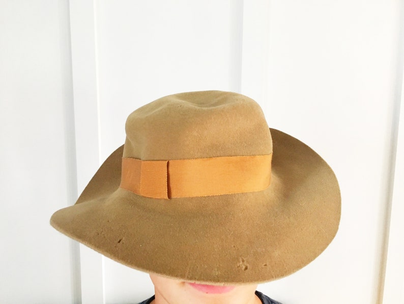 007c352900c Vintage Frank Olive Lord and Taylor Felt Floppy Hat 1950s