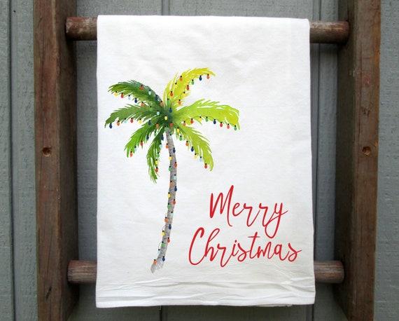 Christmas Flour Sack Towel, Palm Tree Christmas, Christmas Kitchen Towel,  Merry Christmas Tea Towel, Beach Christmas, Hawaii Christmas