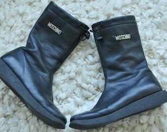 Designer kids' Italian leather boots, Moschino