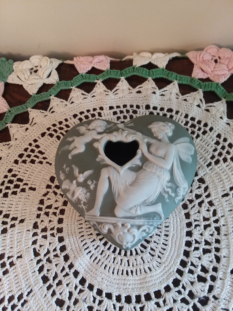 Heart shaped Hair Receiver,Schafer and Vater Jasperware Jasperware Schafer and Vater German Jasperware,Art Nouveau dresser items