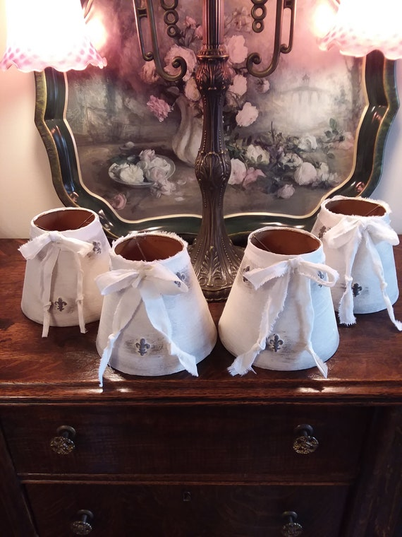 Set Of 4 French Shabby Chic Lamp Shades Fleur De Lis Lamp Shades Vintage White Lamp Shades Refurbished Lamp Shades French Provincial